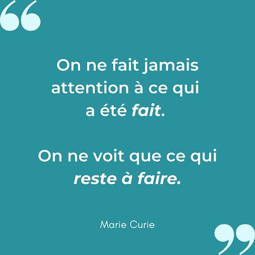 Citation motivante vision petits pas Marie Curie
